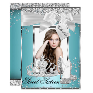 Sparkle Bow Tiara Photo Sweet 16 Invitation