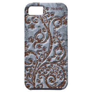 Sparkle Brown Pale Blue Personalized iPhone SE/5/5s Case