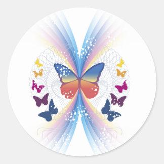 sparkle.butterfly pegatina redonda