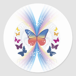 sparkle butterfly round stickers