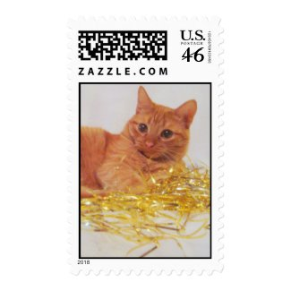 Sparkle Cat Holiday Postage stamp