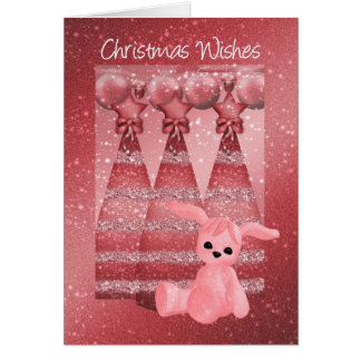 Sparkle Christmas Greeting Card Dusky Pink And Gir