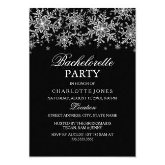 Sparkle Crystal Snowflake Bachelorette Party Custom Invitation Card