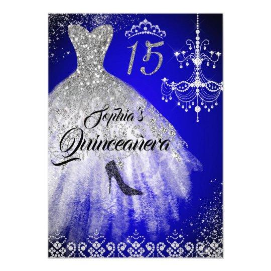 Sparkle Diamond Dress Blue Silver Quinceanera Invitation