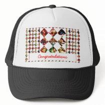 Sparkle Diamond Pattern : Editable Greeting Text Trucker Hat