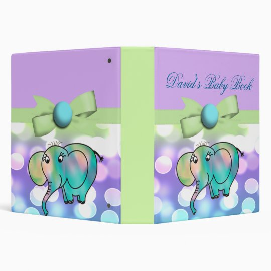 Sparkle Dots Pastel Elephant Baby Shower 3 Ring Binder