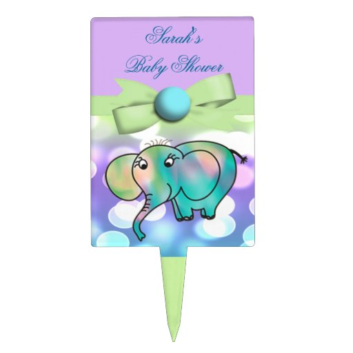 Sparkle Dots Pastel Elephant Baby Shower Cake Picks
