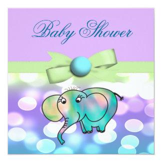 Sparkle Dots Pastel Elephant Baby Shower Card