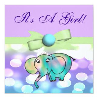 Sparkle Dots Pastel Elephant Baby Shower CSTM2 Card