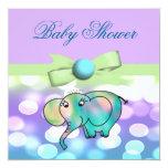 "Sparkle Dots Pastel Elephant Baby Shower 5.25"" Square Invitation Card"