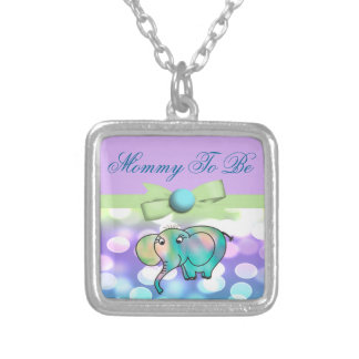 Sparkle Dots Pastel Elephant Baby Shower Silver Plated Necklace