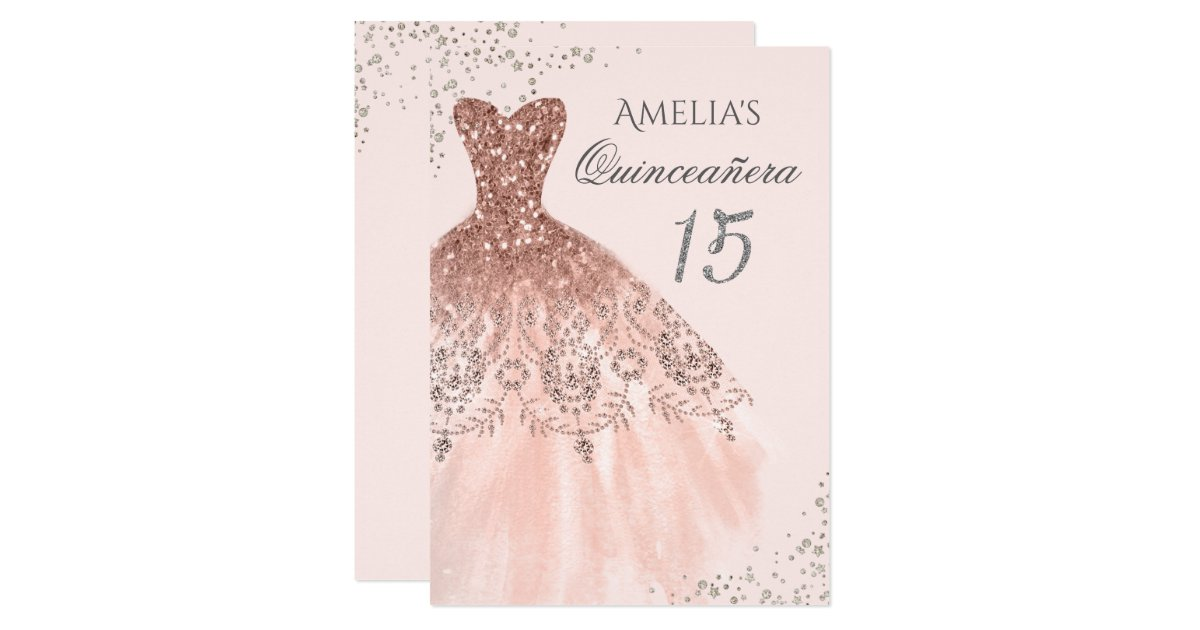 Sparkle Dress Pink Rose Gold Quinceanera Invite Zazzle Com