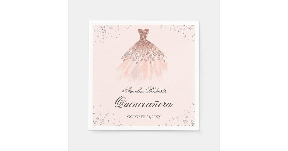 Sparkle Dress Rose Gold Quinceanera Napkin Zazzle Com