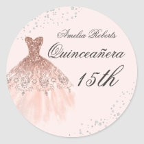 Sparkle Dress Rose Gold Quinceanera Sticker