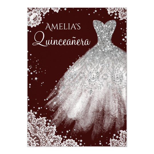 sparkle dress white lace burgundy quinceanera invitation