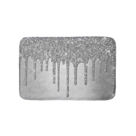 Sparkle Drip Decor | Platinum Silver Metallic Ice Bath Mat