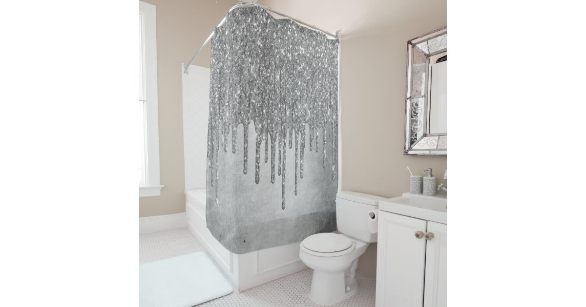 Sparkle Drip Decor Platinum Silver Metallic Ice Shower Curtain