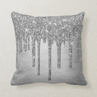 Sparkle Drip Decor | Platinum Silver Metallic Ice Throw Pillow