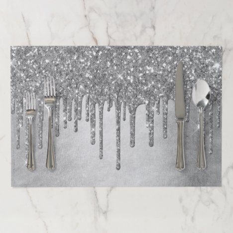 Sparkle Drip Party | Silver Platinum Icing Shine Paper Placemat