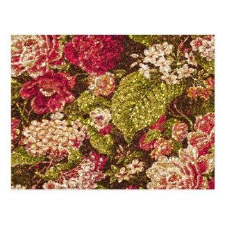 Sparkle Effect Floral Brocade Postcard