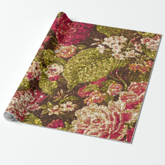 Sparkle Effect Floral Brocade Wrapping Paper