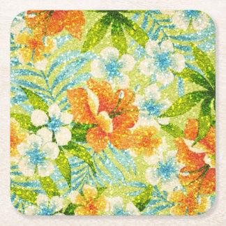 Sparkle-effect Spring Floral Square Paper Coaster