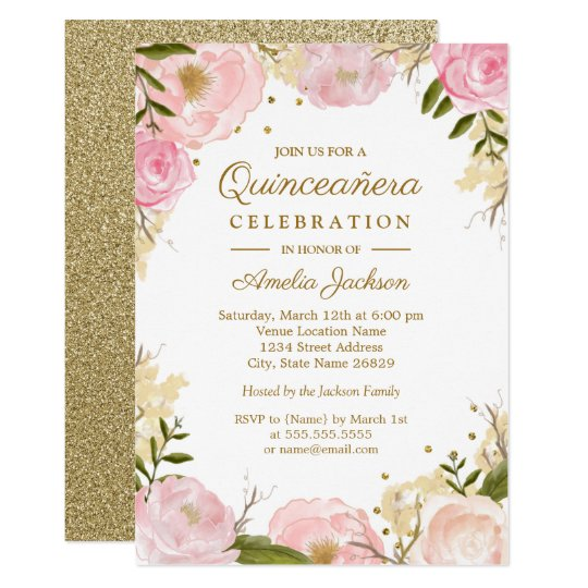 Sparkle floral pink gold quinceanera card zazzle sparkle floral pink gold quinceanera card m4hsunfo Image collections