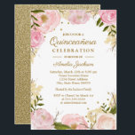"Sparkle Floral Pink Gold Quinceanera Invitation<br><div class=""desc"">More pretty Quinceanera Invitations in the Little Bayleigh Store!</div>"
