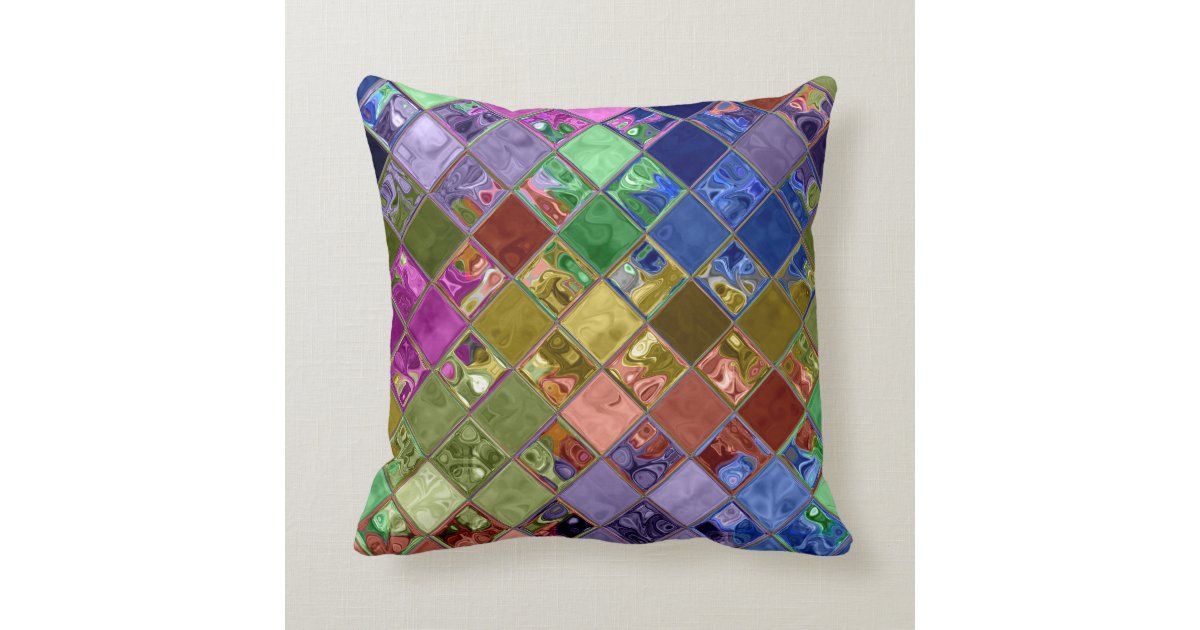 sparkle gems mosaic art pillows home decor gift zazzle