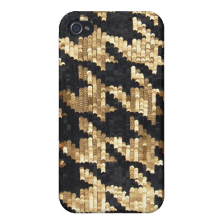 Sparkle Glitter Gold Bling Houndstooth Covers For iPhone 4