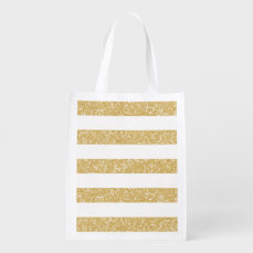 Sparkle Glitter Look Stripes Reusable Grocery Bag