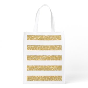 trendythings Sparkle Glitter Look Stripes Reusable Grocery Bag