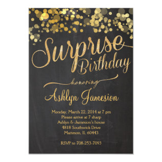 Sparkle Glitter Surprise Birthday Invitation at Zazzle
