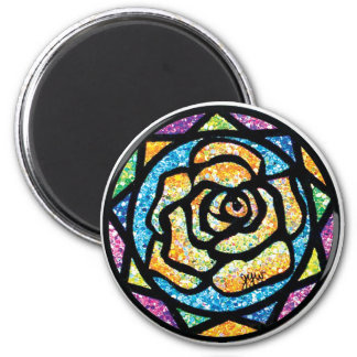 Sparkle Glitter Yellow Rose 2 Inch Round Magnet