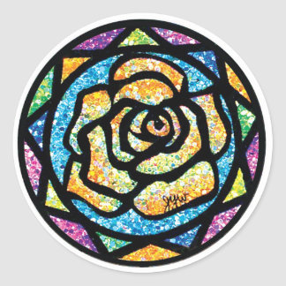 Sparkle Glitter Yellow Rose Classic Round Sticker