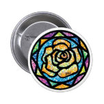 Sparkle Glitter Yellow Rose Pinback Buttons