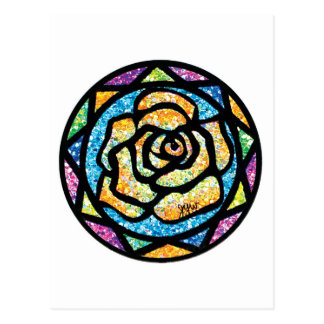Sparkle Glitter Yellow Rose Postcard