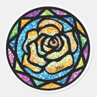 Sparkle Glitter Yellow Rose Round Sticker