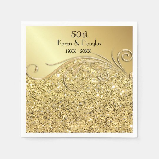 50th Wedding Anniversary Gift Etiquette: Sparkle Gold 50th Wedding Anniversary Napkin