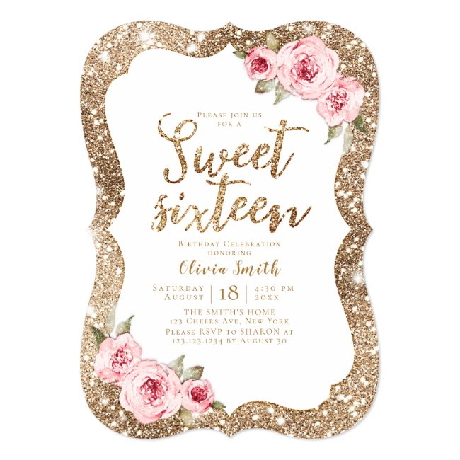 Sparkle gold glitter pink floral sweet 16 birthday invitation