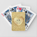 "Sparkle Gold Heart 50th Wedding Anniversary Bicycle Playing Cards<br><div class=""desc""></div>"