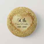 "Sparkle Gold Heart 50th Wedding Anniversary Button<br><div class=""desc""></div>"