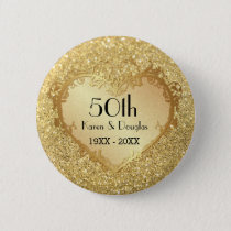 Sparkle Gold Heart 50th Wedding Anniversary Button