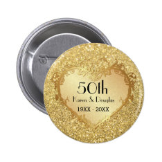 Sparkle Gold Heart 50th Wedding Anniversary Button at Zazzle