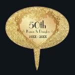 "Sparkle Gold Heart 50th Wedding Anniversary Cake Topper<br><div class=""desc""></div>"