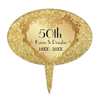 Sparkle Gold Heart 50th Wedding Anniversary Cake Topper