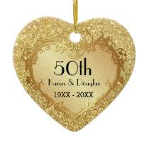 Sparkle Gold Heart 50th Wedding Anniversary Ceramic Ornament
