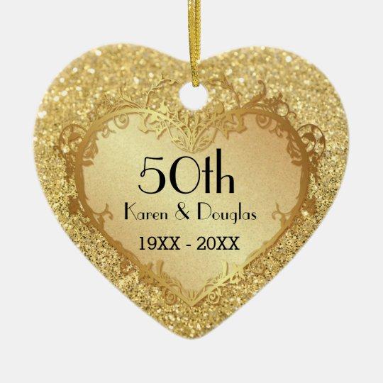 50th Wedding Anniversary Gift Etiquette: Sparkle Gold Heart 50th Wedding Anniversary Ceramic