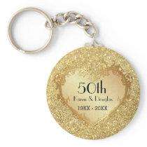 Sparkle Gold Heart 50th Wedding Anniversary Keychain