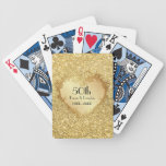 Sparkle Gold Heart 50th Wedding Anniversary Bicycle Playing Cards